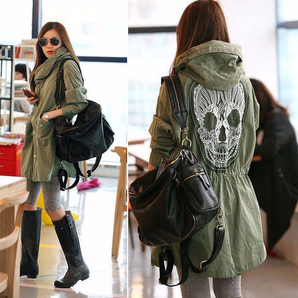 Women Back Skull Design Army Green Loose Parka Jacket