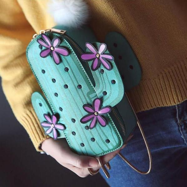 Cute Floral Cactus Shoulder Bag Cross Body Bag