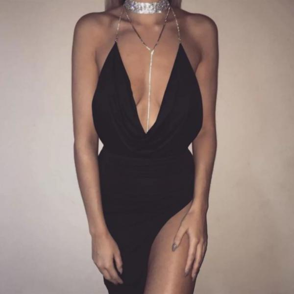 Sexy Chain Strap Deep V Neck Backless Bodycon Party Dress