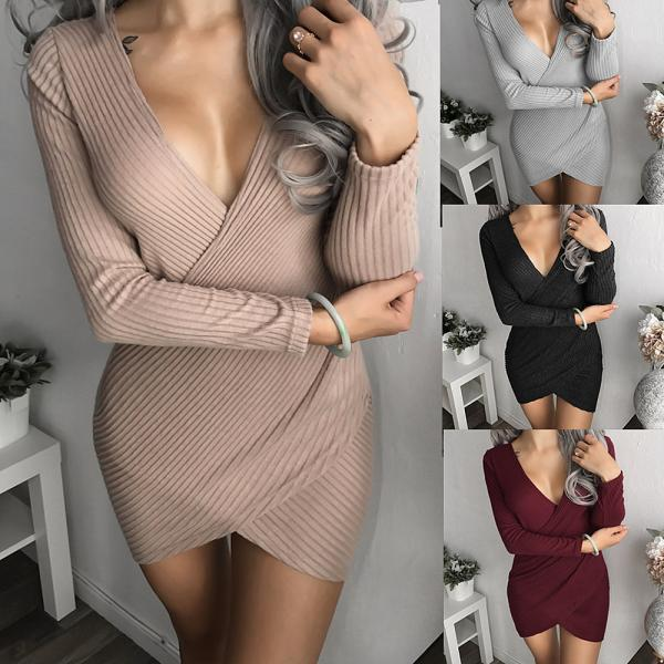 Sexy Deep V Neck Long Sleeve Dress