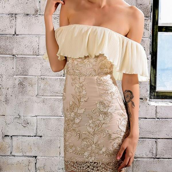 Summer Autumn Zip Back Off Shoulder Lace Dress