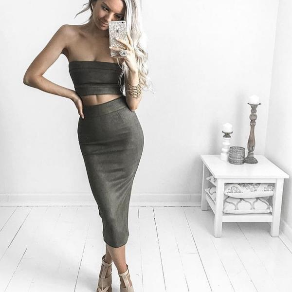 Sexy Bodycon Two Piece Top and Skirt Set
