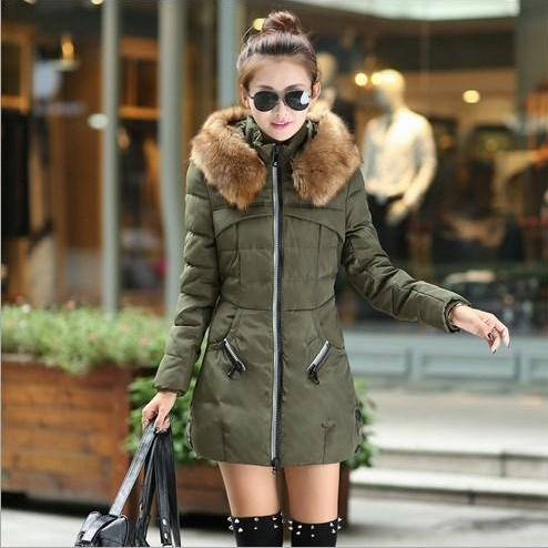 Faux Fur Army Green Warm Winter Coat