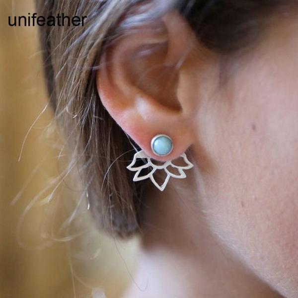 Gold Silver Color Hollow Out Flower Stud Earring Blue Turquoise Earrings