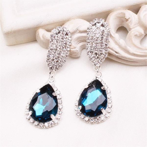 Water-drop Crystal Stud Earrings