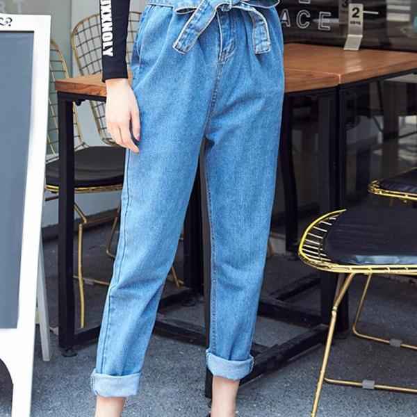 High waist Sash Women's Casual Pants