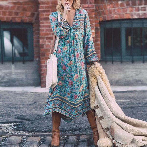 Beautiful Floral print Boho Maxi Dress
