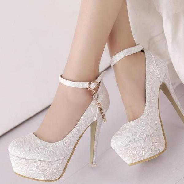 Classy Round Toe Ankle Strap Luxury High heels Fashion Shoes