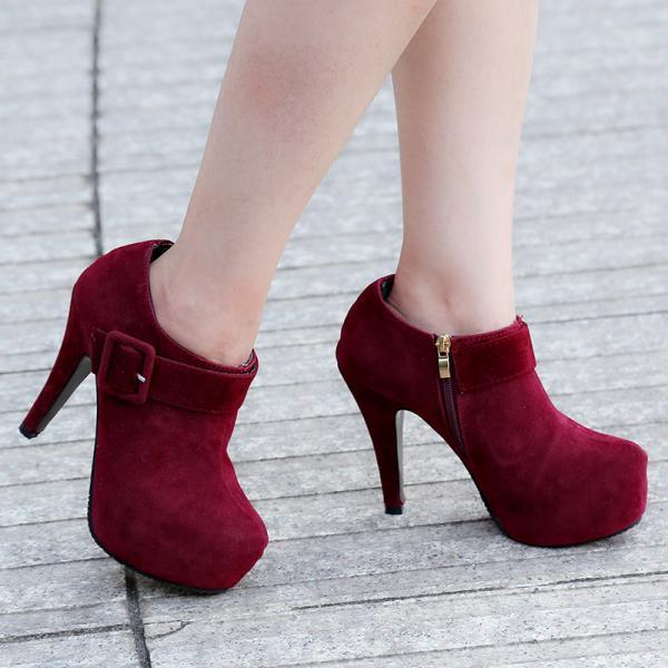Ladies Buckle Design high heels Ankle Boots