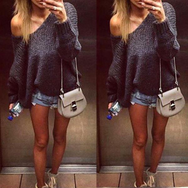 V Neck Loose Knitted Cardigan Outwear Long Sleeve Pullover Sweater