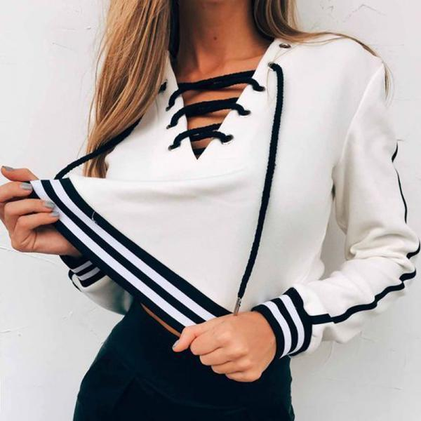 Casual Ladies Lace up Long Sleeve White Top