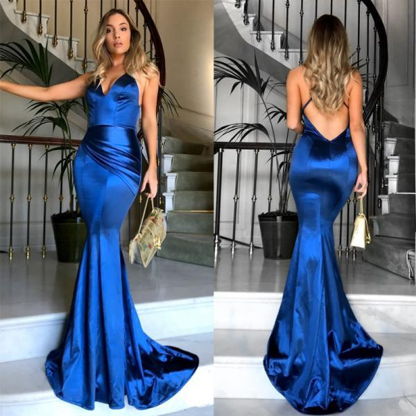 Elegant Sexy Deep V Neck Backless Mermaid Dress