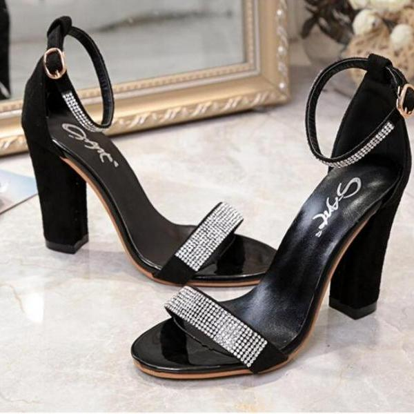 Rhinestone Ankle Strap Peep Toe High Heels Sandals