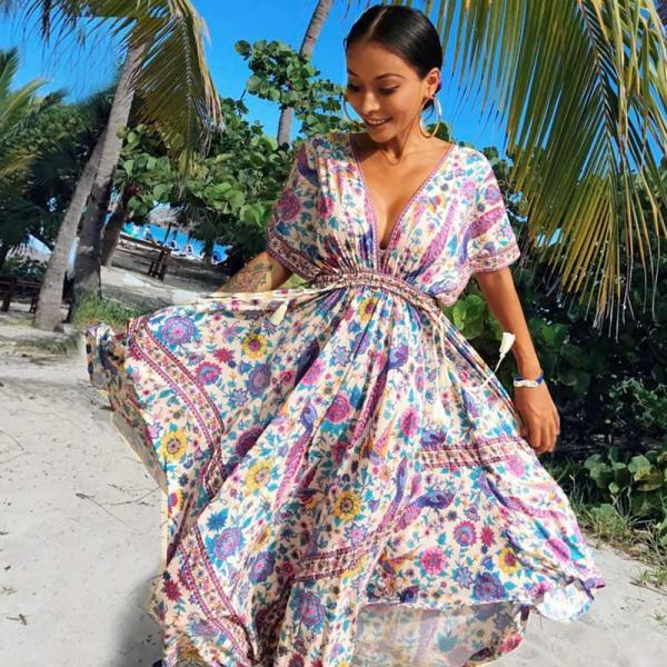 V Neck Beautiful Floral Print Bohemian Inspired Dress