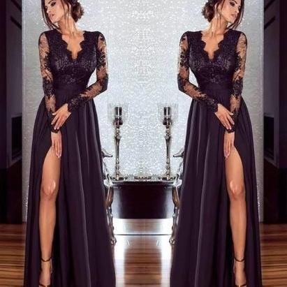 Long Sleeve Black Lace Long Dress
