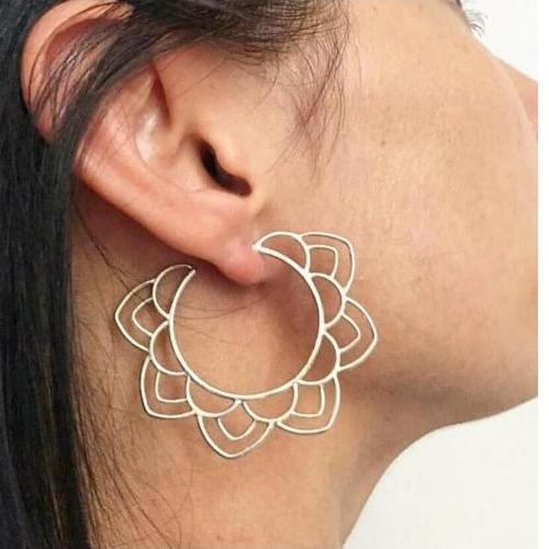 Ethnic Tribal Gold and Silver Drop Earrings