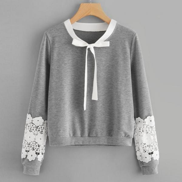 Casual Spring and Autumn Women Sweatshirts with Beautiful Lace Detail