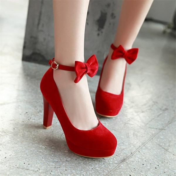 Red and Black Bow Strap Party High Heels Shoes