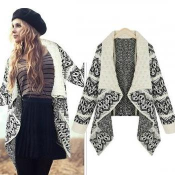 Aztec Turn down Collar Long Sleeve Cardigan White Sweater