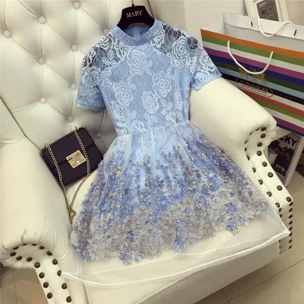 Beautiful Lace Organza Party Blue Dress
