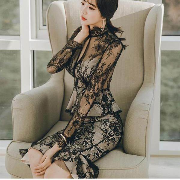 Chic Full Lace Long Sleeve Party Dress