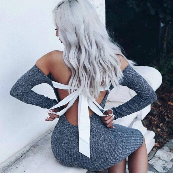 Sexy Back Bow Tie Bodycon Grey Short Dress