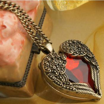 Vintage Heart With Wings Necklace