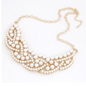 All Match Pearl Embellished Collar Necklace