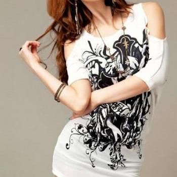 White Off Shoulder Tribal Print T shirt