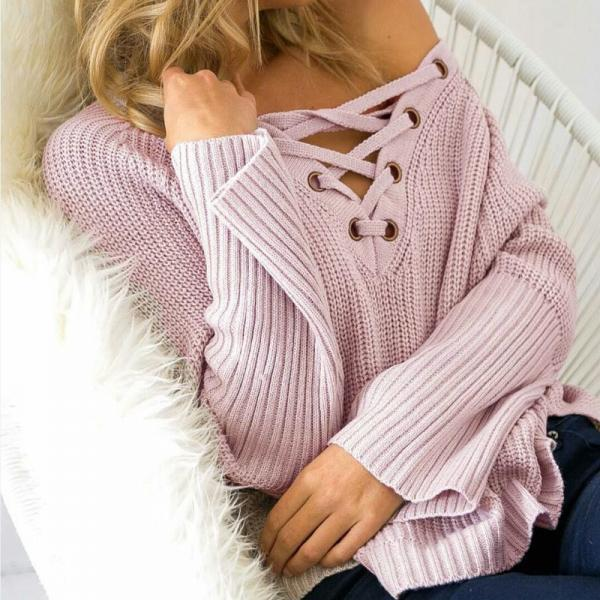 Front Lace up Long Sleeve V Neck Knitted Sweater