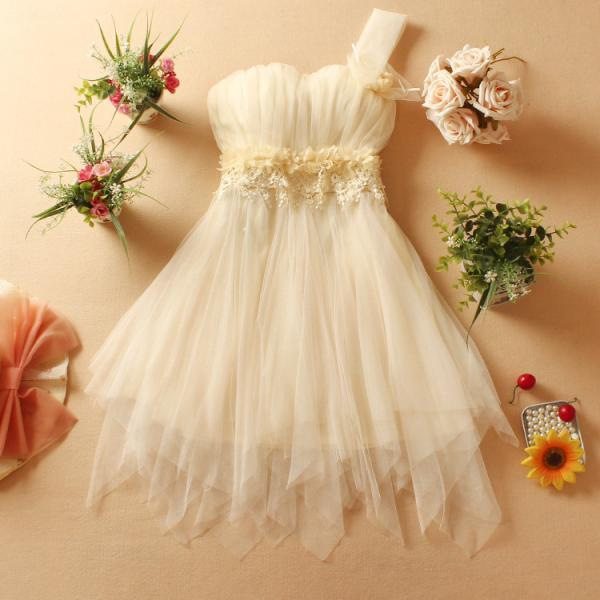 White and Apricot One Shoulder Chiffon party Dress with Lace Detail