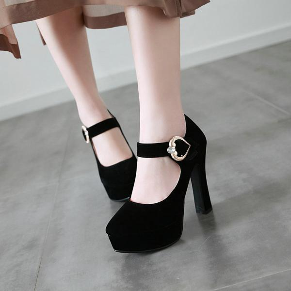 Heart Charmed Ankle Strap High Heels Shoes