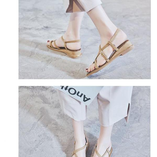 Chic Summer Roman Leather Flat Sandals