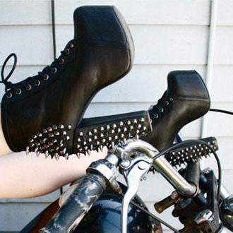 Studded Lace Up Black Ankle Boots