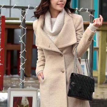 Elegant Tan Colored Long Coat