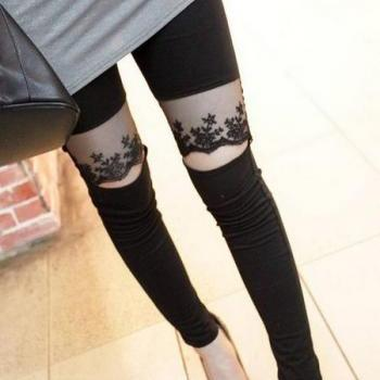 Black Lace Detail Slim Fit Leggings