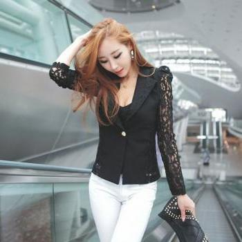 Sexy Black Lace Sleeve Blazer