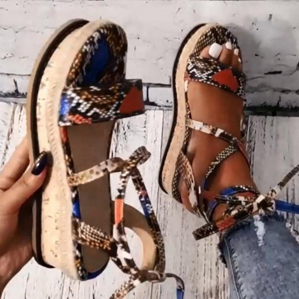 Summer Lace up Snake Pattern Wedge Sandals