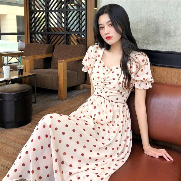 Chic Polka dots Vintage Style Long Dress