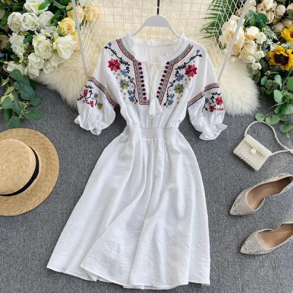 Vintage Boho Embroidery Tassel Summer Dress