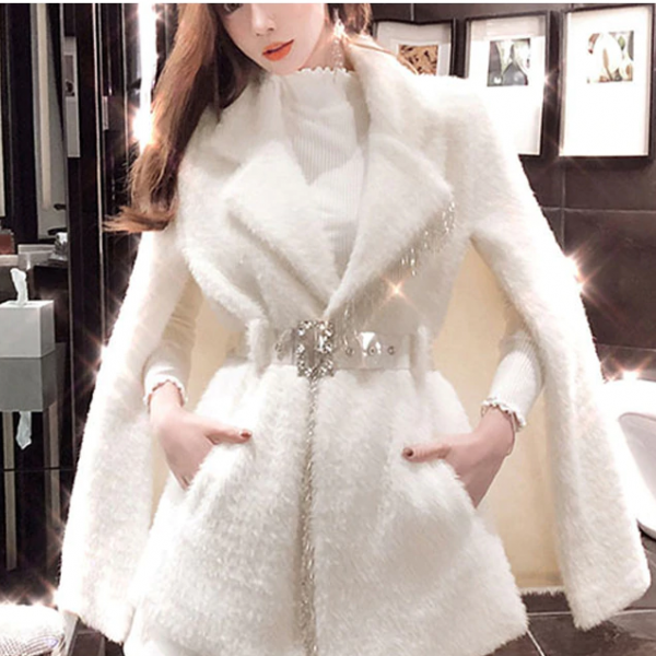 White Elegant velvet Faux Fur Winter Coat