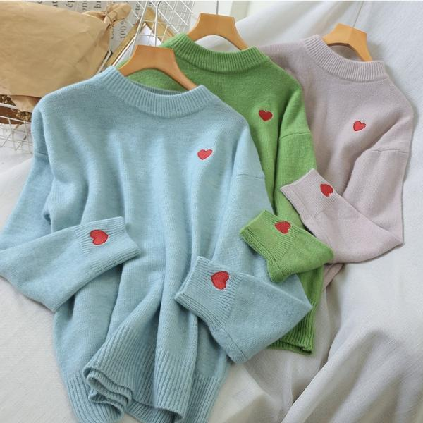 Heart Embroidery O Neck Pullover Over Sized Sweater
