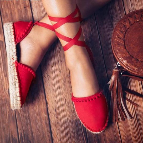 Lace up Cross Strap Red Espadrilles Sandals
