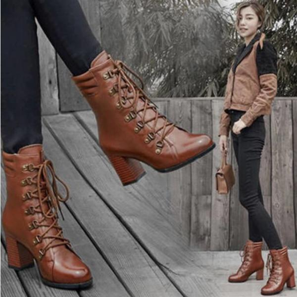 Brown and Black Casual PU Leather Ankle Boots