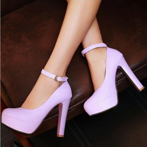 Beautiful Ankle Strap Charmed High Heels Party Wedding Shoes