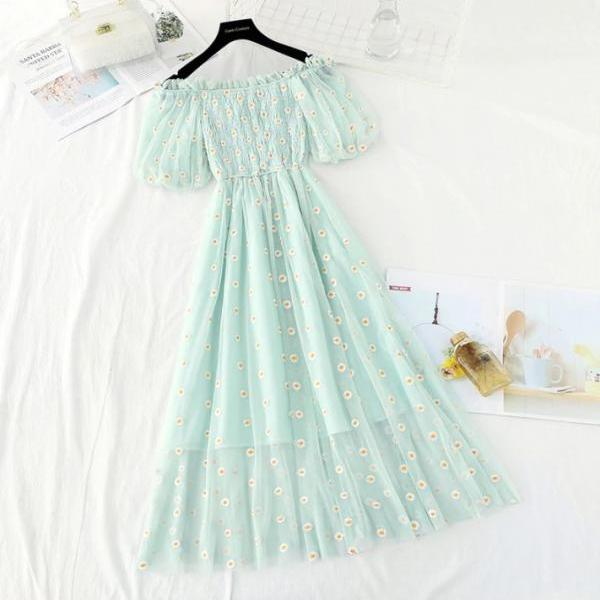 Cute Off Shoulder Daisy Dress
