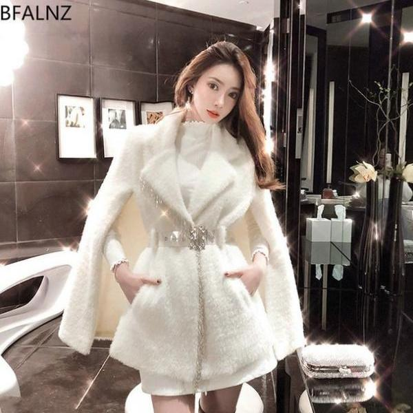 Elegant White Belted Winter Coat