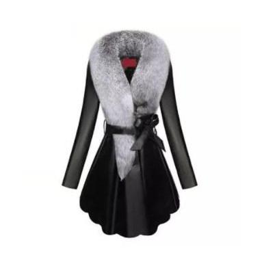 Elegant Detachable Faux Fur Collar Women's PU Leather Winter Coat