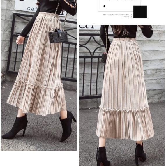 Autumn and Winter Pleated Velvet Skirt