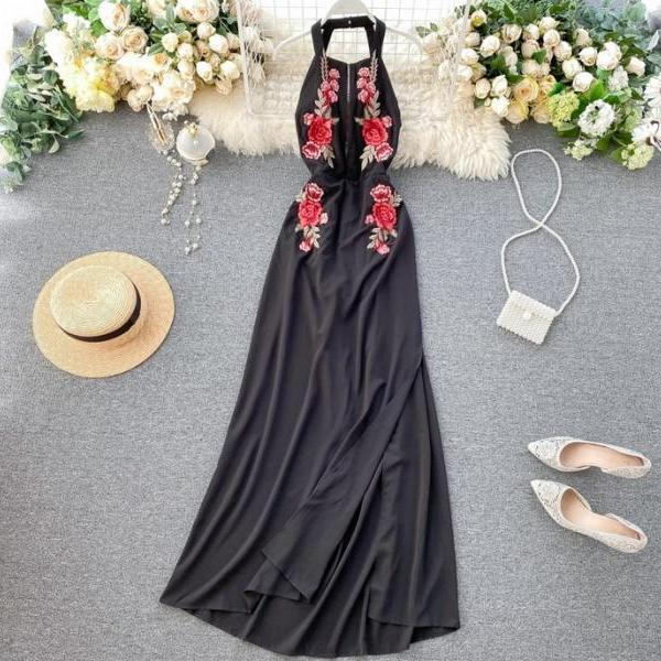 Halter Openb Back Floral Embroidery Black Party Dress